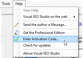 Enter Activation Code menu entry