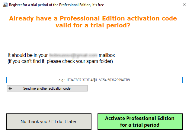Inserting the Activation Code in the Trial registration form