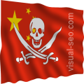 Chinese Flag with Jolly Jack impressed, waving (artwork derived from PD images)